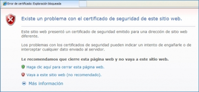 Avís de l'Internet Explorer