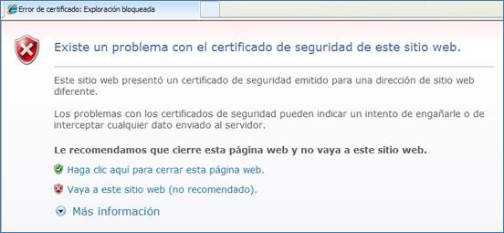 Imatge de l'avís que genera el navegador d'Internet Explorer