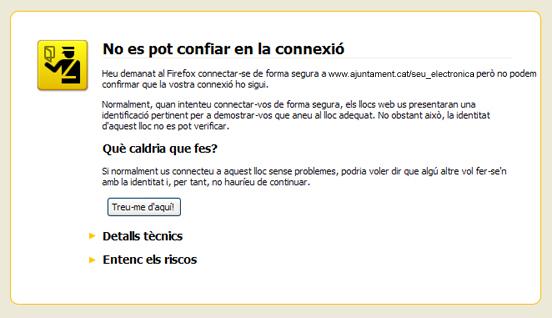Imatge de l'avís que genera el navegador d'Internet Firefox